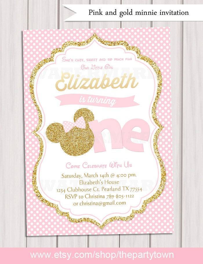 Pink And Gold Minnie Mouse First Birthday Party Invitation Etsy