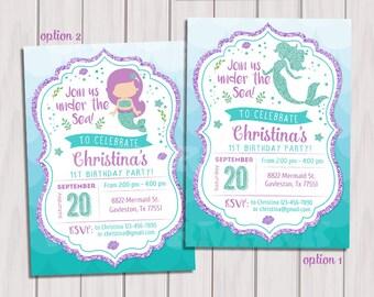 Mermaid Birthday Invitation, Little Mermaid Party Invite Under the sea, Mermaid Glitter Printable Invitation, 1st Birthday