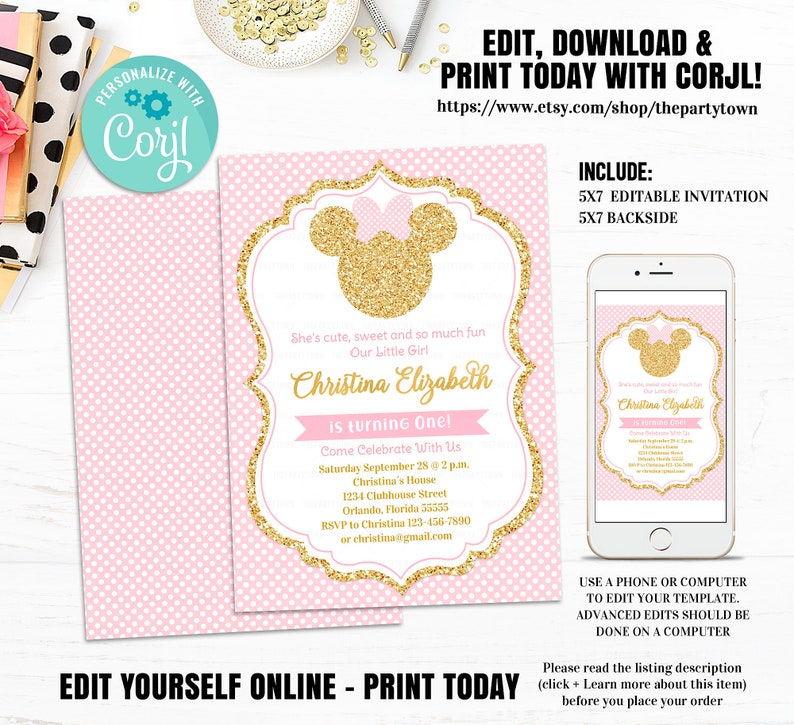 Pink And Gold Minnie Mouse Birthday Party Invitation Editable First 1st Glitter Polka Dot Invite Girl Printable