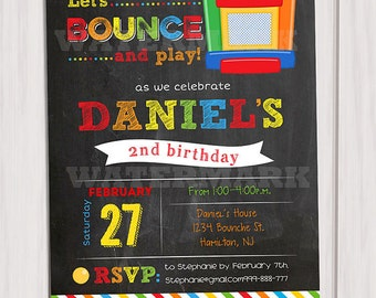 Bounce House Birthday invitation, Boy Bounce House Invitation, Jump Party, Printable invite, Personalized printable