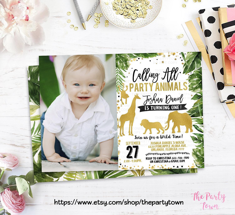 Jungle Birthday Invitation Gold WILD Animal invitations | Etsy