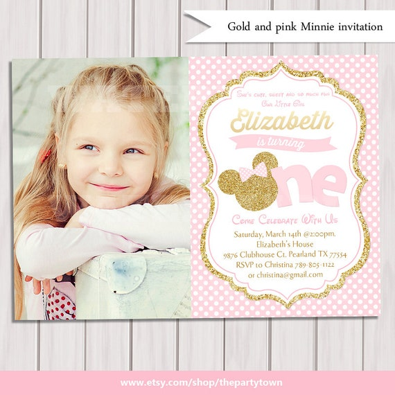 Minnie Mouse 1st Birthday Invitation Pink And Gold