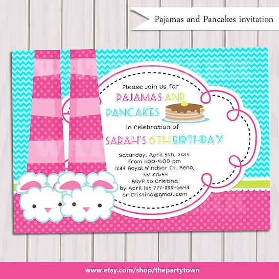 Pancakes And Pajamas Party Invitation Pajamas Party Birthday