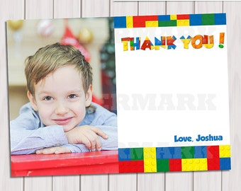 Building Blocks Thank you card / Colorful Blocks Note Card / thank you card photo / Personalized Thank you card