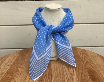 Vintage square scarf//light blue and white polka dot and stripes