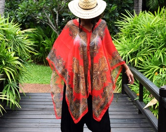 Kaftan or Beach Dress in Red & Gold // One Size Fits All // Swimsuit Coverup // Beach Wear // Sarong // Summer Dress // Gifts For Women
