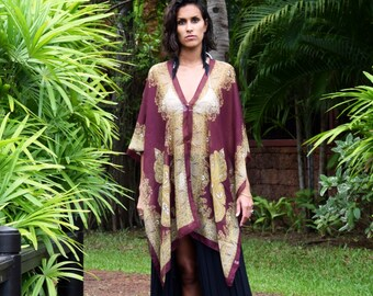 Kaftan or Beach Dress in Maroon & Gold // One Size Fits All // Swimsuit Coverup // Beach Wear // Sarong // Summer Dress // Gifts For Women