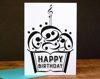 Music BIRTHDAY Card Note Cupcake Birthday Musician Happy Teacher Gift
