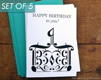 Music Birthday Cards Set Of 5 BIRTHDAY CAKE Note Card Happy Teacher