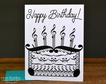 MUSICIAN BIRTHDAY Card Music Birthday Cake Note Treble Clef Happy Teacher Gift