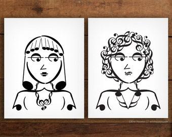 Music decor, GIRL BAND music art prints - 5x7, 8x10, 11x14 Fine art prints, Music prints, Music wall art, Music poster