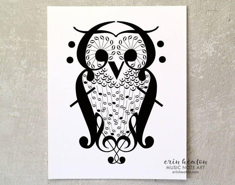 ac0f5adaccb OWL music note art print 5x7 8x10 11x14 Fine art print