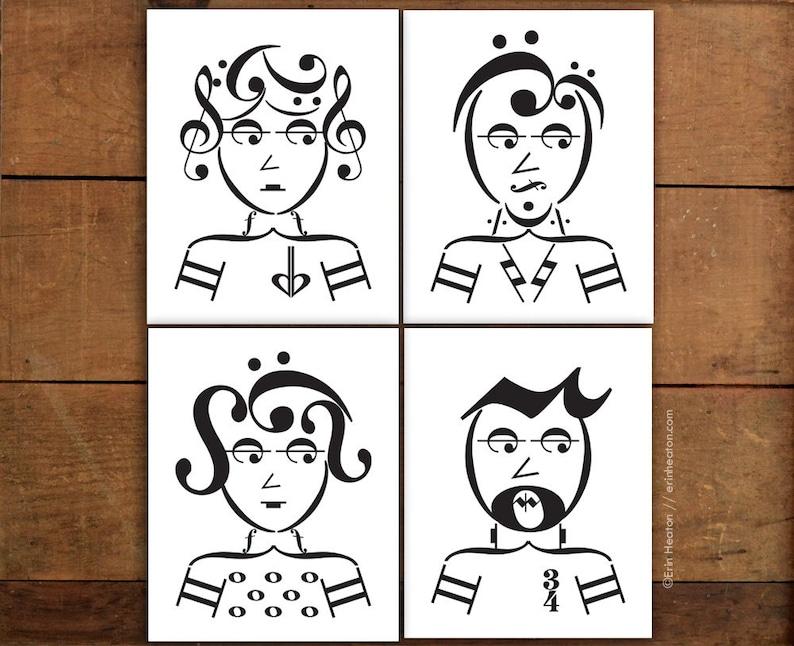 3e59e933cc1 Musical art   ROCKER SERIES   Set of 4 music art prints