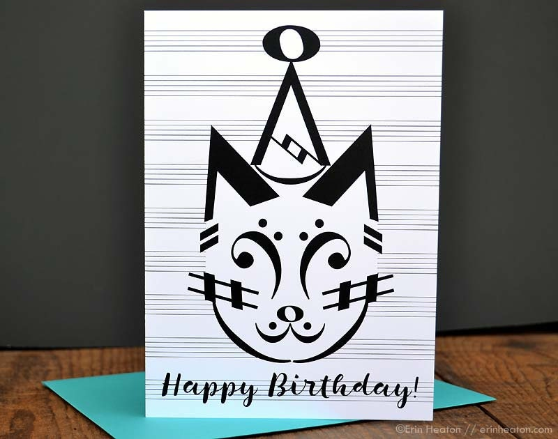 Music Birthday Card Party Cat Birthday Card Music Note