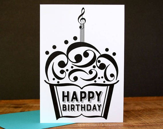 Music BIRTHDAY Card Note Cupcake
