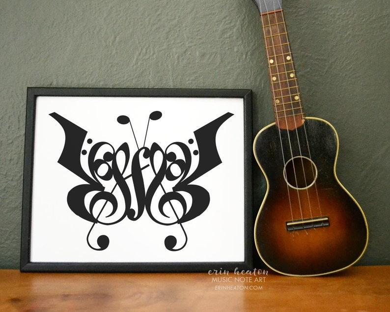 4cf0c7b0208 Music   BUTTERFLY music art print 5x7 8x10 11x14 Fine art