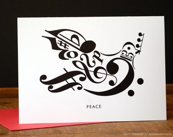 Music christmas cards set of 10 peace dove music note cards music christmas card peace dove greeting card music teacher card music card m4hsunfo