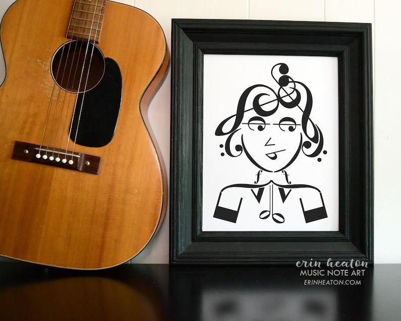 8b970e0710a Music room decor   COOL GIRL musical art print   5x7 8x10