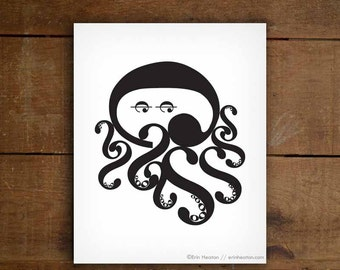Octopus Music Note Art Print - Available in 5x7, 8x10, 11x14 inches