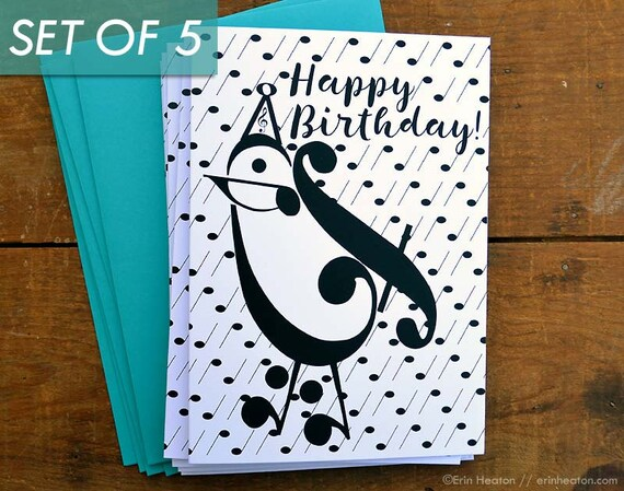 Music Birthday Card Set Of 5 PARTY BIRD Note