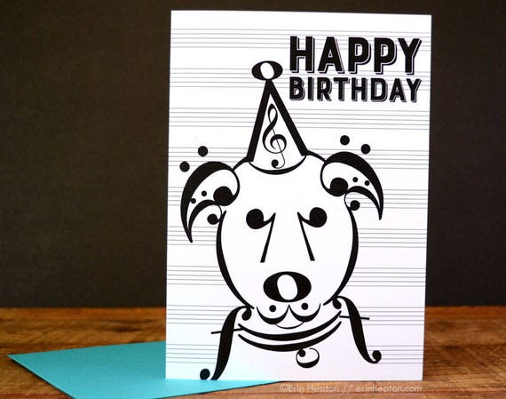 Music Dog Birthday Card Music Note Birthday Card Birthday Etsy