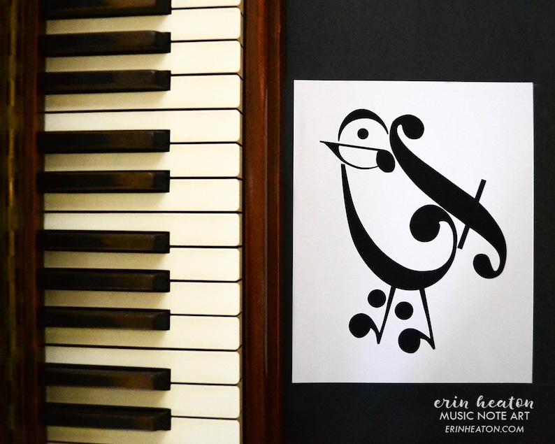 1d0d5767fd5 Music teacher gift   Music note BIRD art print 5x7 8x10