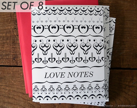 music valentines love notes music anniversary card music etsy