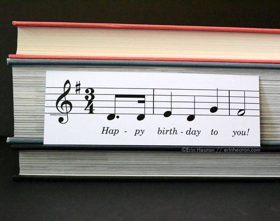 Happy Birthday Song Bookmark - CLASSROOM PACK / Student rewards / Birthday  cards / Music student prizes / Music party favors