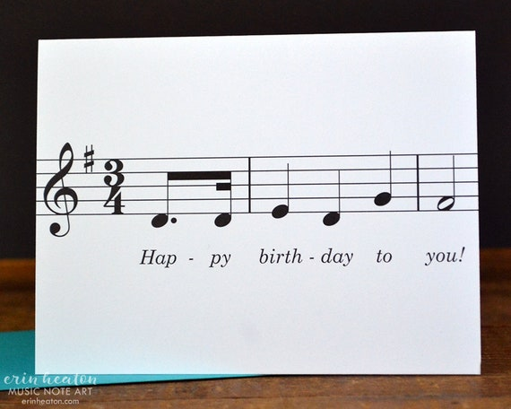 Happy Birthday To You Music Note Birthday Card Musician Etsy