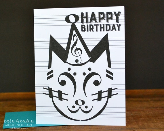 Music BIRTHDAY Card PARTY CAT Birthday Note