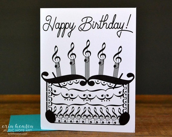 MUSICIAN BIRTHDAY Card Music Birthday Cake Note