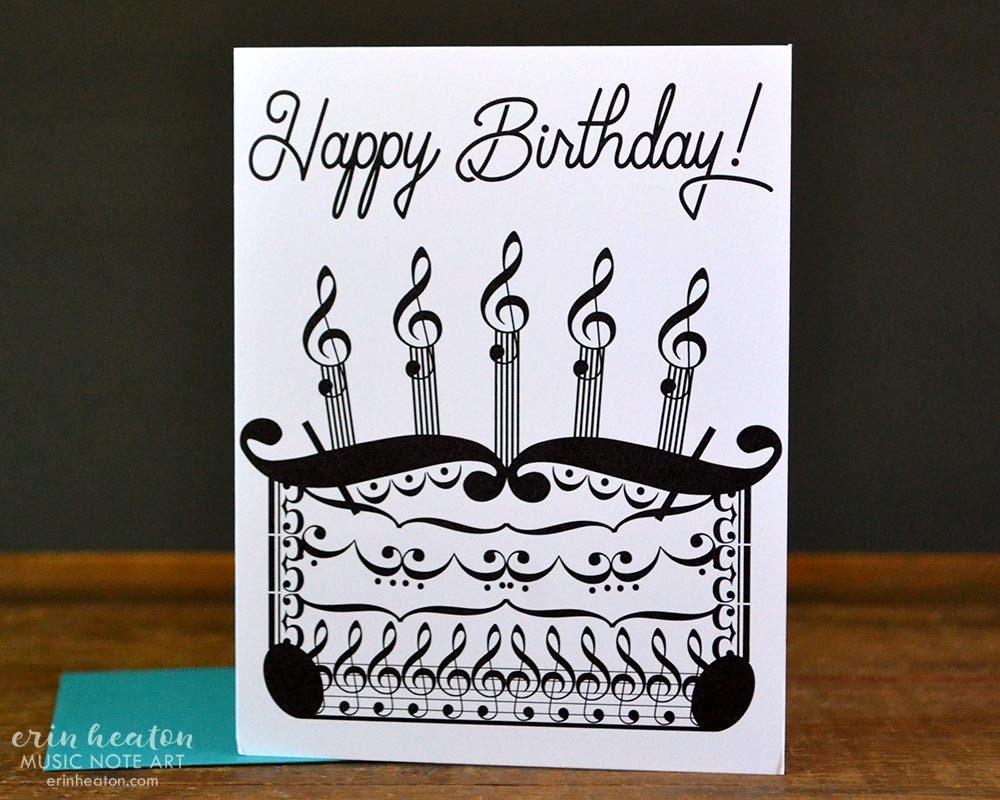Musician Birthday Card Music Birthday Cake Card Music Note Etsy