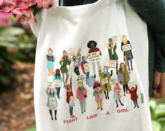 Women's March Tote Bag, Feminism Tote Bag, Women's Rights, March on Washington, Girl Power Bag
