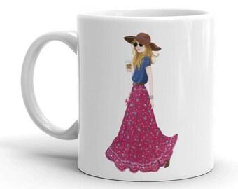 But First Coffee mug, Boho Chic, Fashion Girl, Fashion Illustration, Fashion Sketch, Fashion Mug