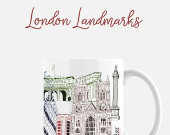 London Landmarks Mug | Buckingham Palace | UK Sights | Royal Wedding | Travel Mug