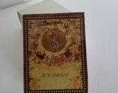 Aquarius Wooden Trinket Box Lacquered Jewelry Box Zodiac Symbol Albert E. Price 4 quot X 3 quot Vintage New Old Stock NOS