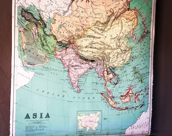Map Of Asia 1914.Western Hemisphere Linen Wall Map By A J Nystrom Co Wall Etsy