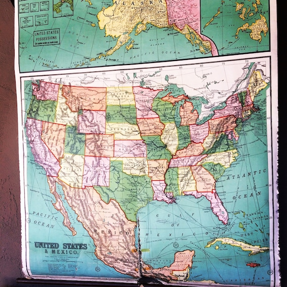 United States and Mexico Linen Wall Map by A.J. Nystrom & Co. Wall Map  circa 1914-1915