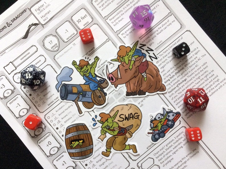 4b4a87317 Goblins Sticker Pack D&D Inspired Set of 5 // DnD Gift Cute // | Etsy