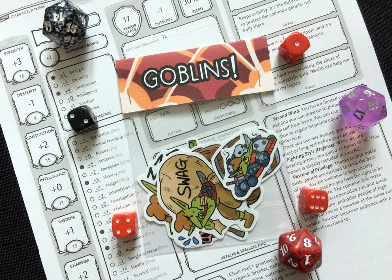 Goblins Sticker Pack D&D Inspired Set of 5 // DnD Gift Cute // Loot Boar  Pig Barrel Cannon Bombs // Dungeons and Dragons