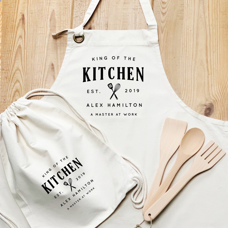 Personalised Apron Set  Aprons for Men  King of the Kitchen Full Set