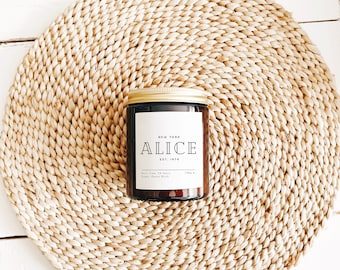 Personalised Soy Candle Gift, Personalised Apothecary Soy Candle Gift Ideas for Women, Personalised Scented Soy Candle and Free Gift Bag