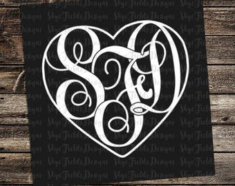 Heart Monogram & Frame Custom SVG, JPG, PNG, Studio.3 File for Silhouette, Cameo, Portrait, Cricut, Cut File, Valentine