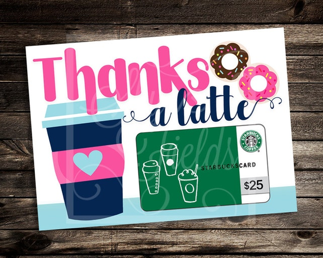 Thanks A Latte 5x7 Printable Thank You Male Teacher Holiday Gift