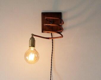 Applique da parete in rame e legno realizzato a mano con etsy