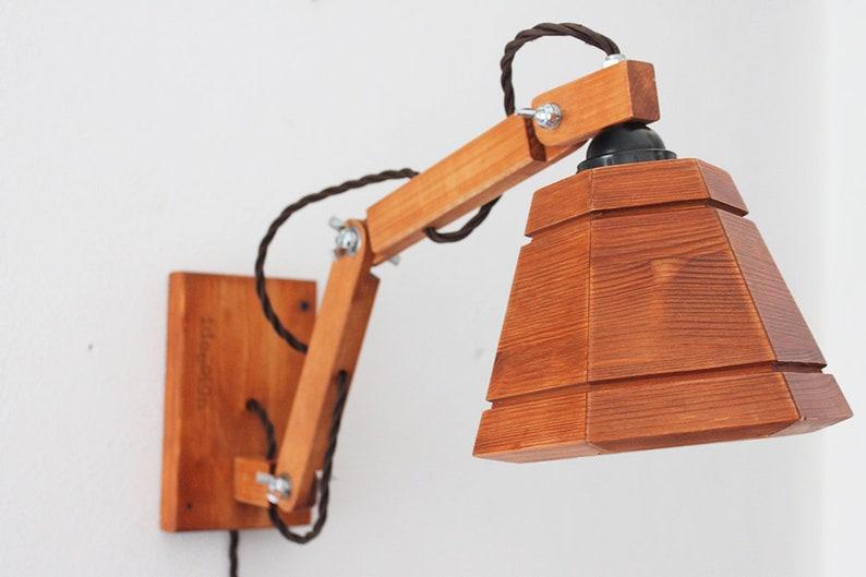 Applique da parete snodabile in legno color mogano realizzato etsy