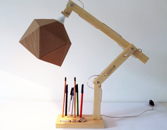 Wood Desk Lamp With Origami Paper Lampshade And Adjustable Etsy