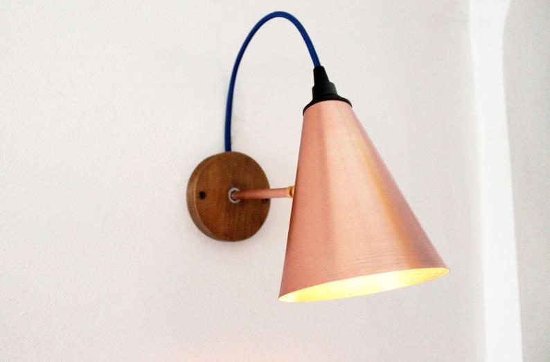 Applique da parete in rame e legno realizzato a mano lampada etsy