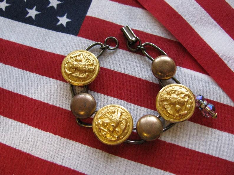 Vintage US NAVY Button Bracelet-Anchors AWAY
