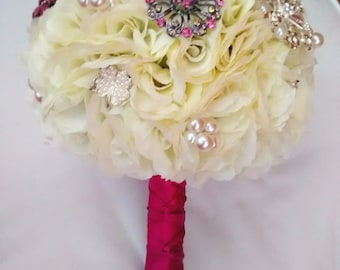 Pink & Ivory Brooch Bouquet SALE